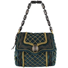 Yves Saint Laurent Green and Gold Chain Quilted Velvet Sac Luxembourg Bag