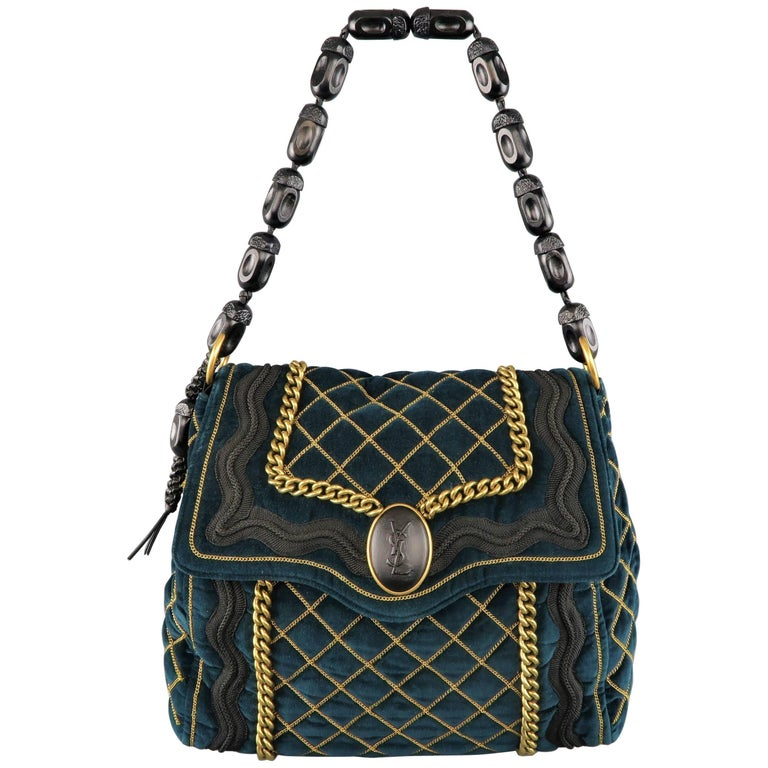 Yves Saint Laurent Green and Gold Chain Quilted Velvet Sac Luxembourg Bag  For Sale 200cc3e252c7e