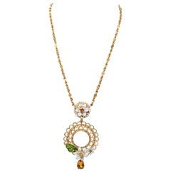 Dolce and Gabbana Gold Floral Pendant Necklace
