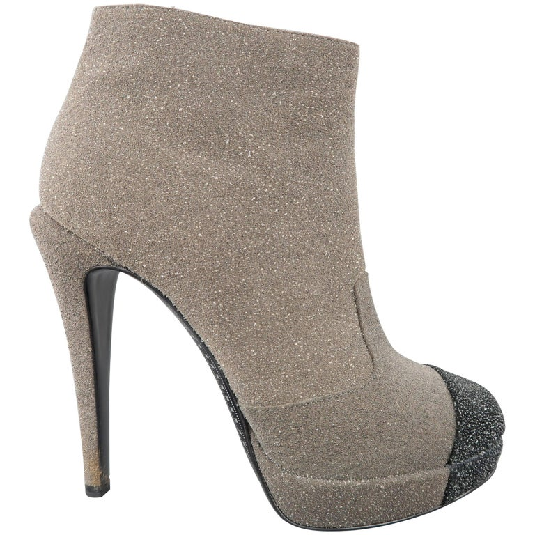 Chanel Boots - Heels -  8.5 Taupe and Black Glitter Suede Cap Toe Platform Boots