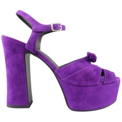 Saint Laurent Size 8.5 Purple Suede Ankle Strap Candy Platform Sandals