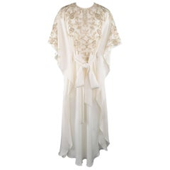 Oscar de la Renta Size XS Cream Silk Gold Beaded Tied Caftan Gown