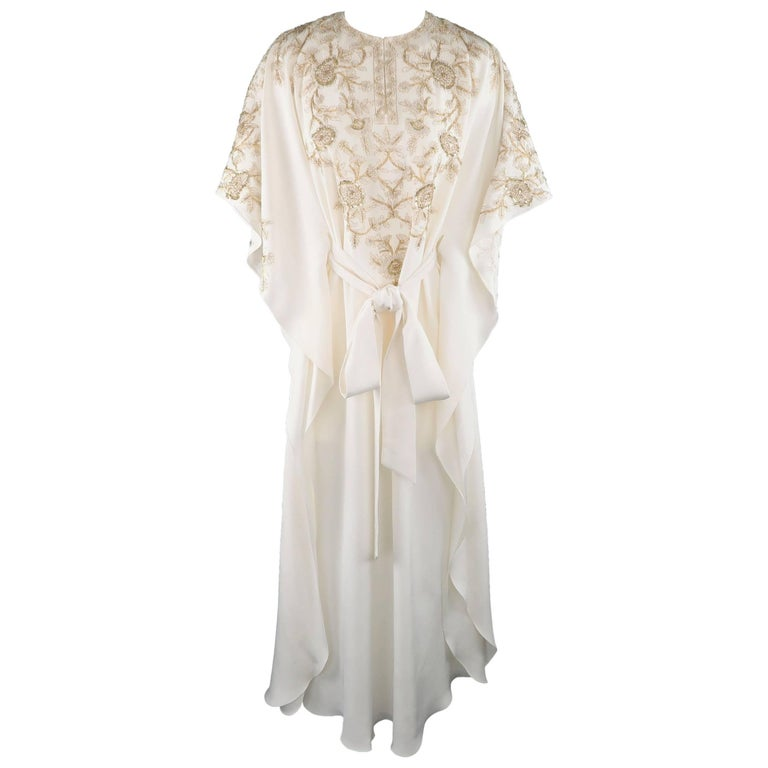 Oscar de la Renta Caftan Gown XS Cream Silk Gold Tied Kaftan- Retail $3,890.00
