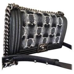 Chanel Medium Gray Caviar and Tweed Boy Bag
