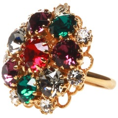 Dolce and Gabbana Crystal Encrusted Flower Cluster Ring