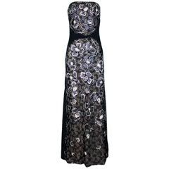 Chanel Lace Sequin Camellia Embroidered Evening Dress Gown