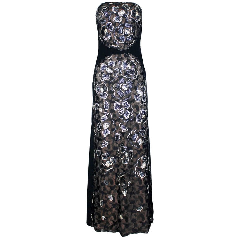 Stunning Chanel Lace Sequin Camellia Embroidered Evening Dress Gown