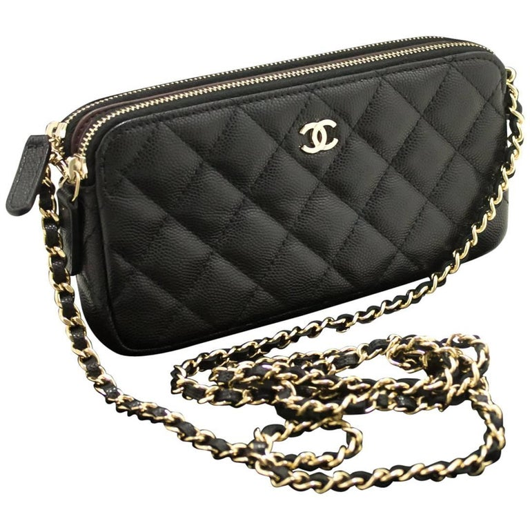 67ed90af7a8b CHANEL Caviar Wallet On Chain WOC Double Zip Chain Shoulder Bag For Sale
