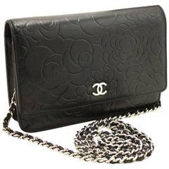 CHANEL Black Camellia Wallet On Chain WOC Shoulder Bag Crossbody