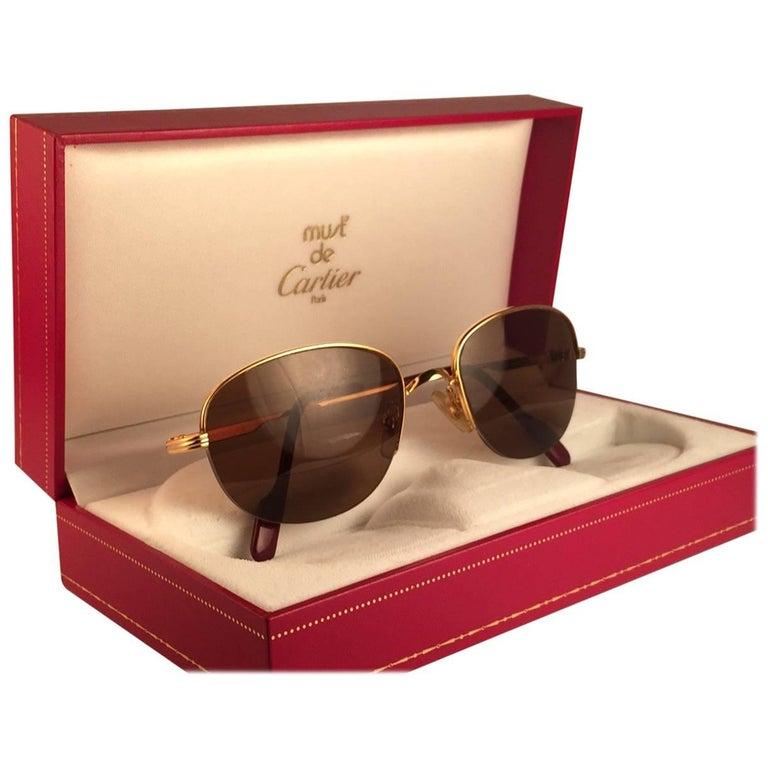 Cartier Montaigne Half Frame 55mm Sunglasses 18k Gold Sunglasses France