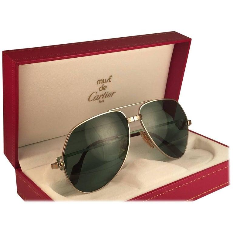 9537d21519 New Cartier Santos Screws Titanium 59Mm Grey Lens Heavy Plated Sunglasses  France at 1stdibs
