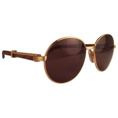 New Cartier Wood Bagatelle Round Gold & Precious Palisander 52mm Brown Lens