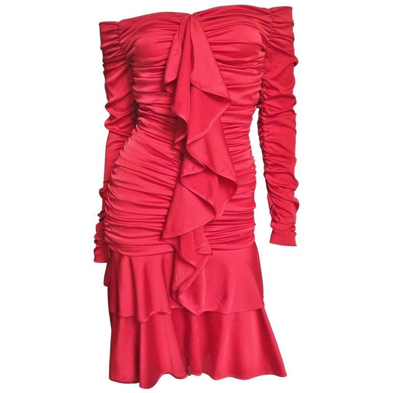 1990s Angelo Tarlazzi Off Shoulder Ruched Silk Dress