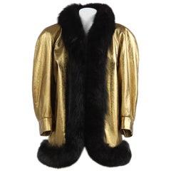 1980s Yves Saint Laurent Golden Bronze Leather Coat trimmed with Fox Black Fur