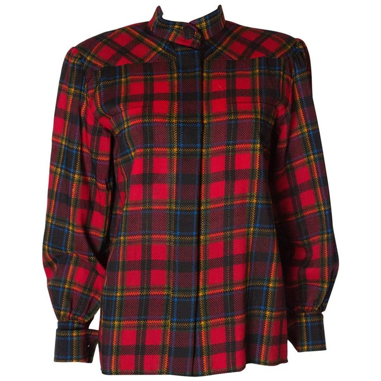 Yves Saint Laurent Red Check Blouse For Sale