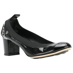 Chanel Black Patent Leather Block Heels