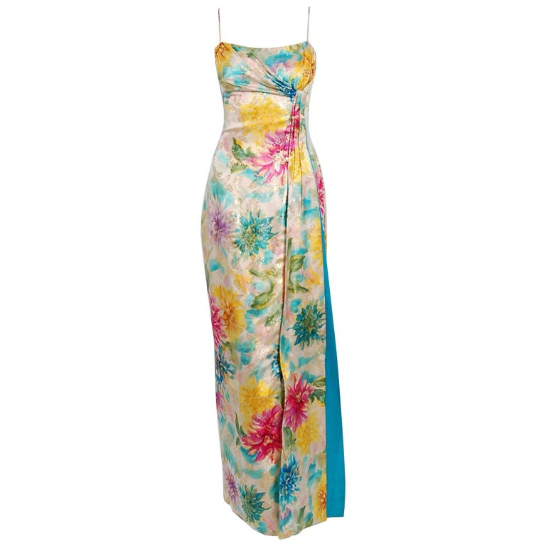 90eeaea07b3 1950 s Ceil Chapman Metallic Floral Print Silk-Brocade Draped Hourglass Gown  For Sale