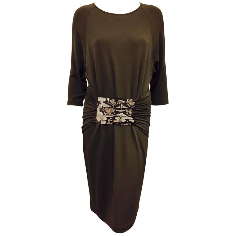 Michael Kors True Taupe Belted Sheath Dress With Dolman Sleeves For