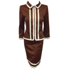 Oscar de la Renta Copper Color Cotton Skirt Suit with White Trim
