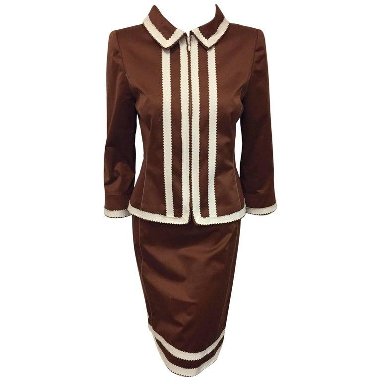 Oscar de la Renta Copper Color Cotton Skirt Suit with White Trim