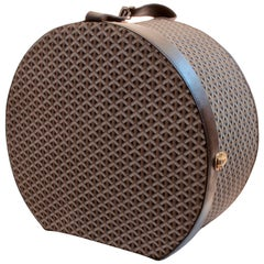 Goyard Round Hat Box XL Travel Luggage Linen Goyardine Black Leather Trim 1940s