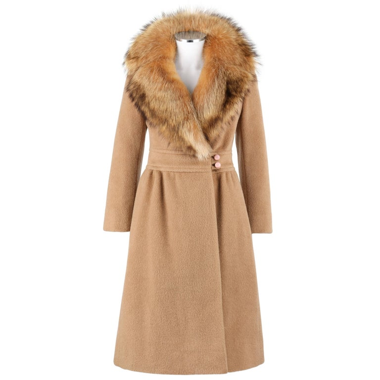 PIERRE CARDIN c.1970's Camel Wool Genuine Fox Fur Collar Princess Coat