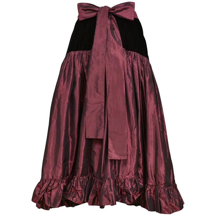 Vintage Yves Saint Laurent Burgundy & Black Velvet Ruffle Party Skirt