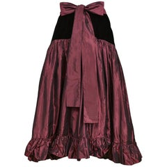 Vintage Yves Saint Laurent Burgundy & Black Velvet Ruffle Party Skirt
