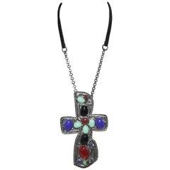 Chanel Massive Cross Bijou Pendant Chain Necklace 2003