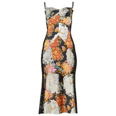 Sexy Dolce & Gabbana Satin Floral Print Cocktail Dress with Black Lace Insets