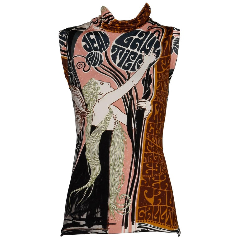 Jean Paul Gaultier Art Nouveau Fairy Graphic Jersey Knit Tank Top or Shirt