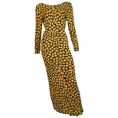 Missoni Yellow & Black Polka Dot Gown Size 4.