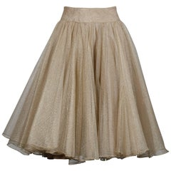 Eavis & Brown Metallic Gold Mesh Silk Full Sweep Ballerina Circle Skirt