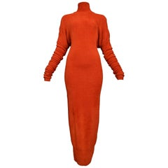 Unusual Holiday Azzedine Alaia Red Velvet Chenille Knit Gown With Glove Sleeves