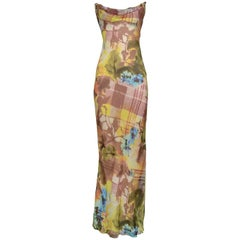 Stunning Dior By John Galliano Floral & Plaid Bias Evening Gown