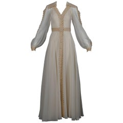 Estevez Vintage Crochet Lace and Chiffon Wedding Gown or Maxi Dress, 1970s