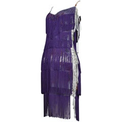 Dolce & Gabbana Purple Fringe and Floral Corset Runway Dress 2003