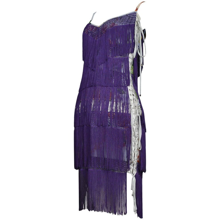 Dolce & Gabbana Purple Fringe and Floral Corset Runway Dress 2003  For Sale