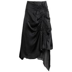 1990s Jean Paul Gaultier Femme Vintage Avant Garde Black Silk Asymmetric Skirt