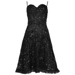 Vintage Yves Saint Laurent Black Lace & Sequin Cocktail Ruffle Dress