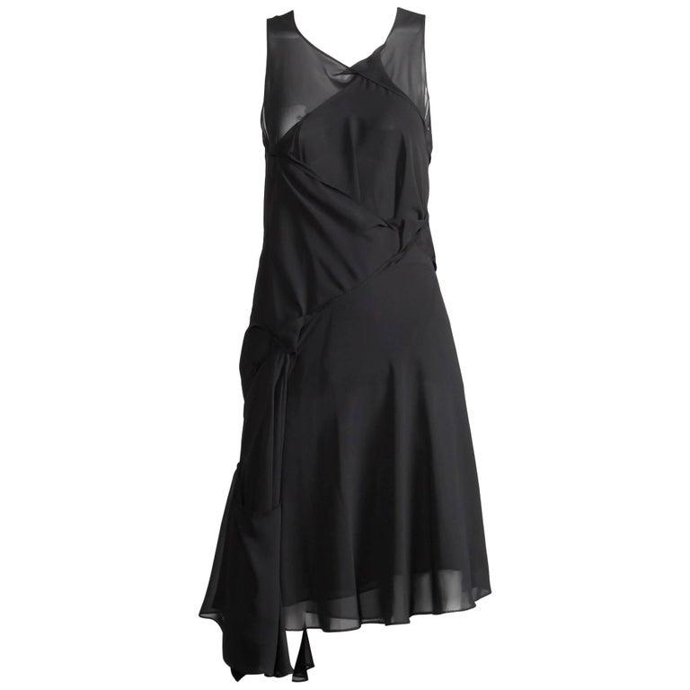 Junya Watanabe Comme des Garcons Avant Garde Black Draped Asymmetric Dress