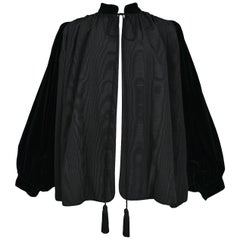 Vintage Yves Saint Laurent Black Moire & Velvet Opera Jacket With Tassels