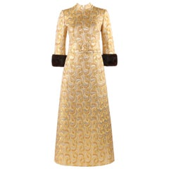 LILLIE RUBIN c.1960's Metallic Brocade Mink Fur Cuff Belted Caftan Evening Dress