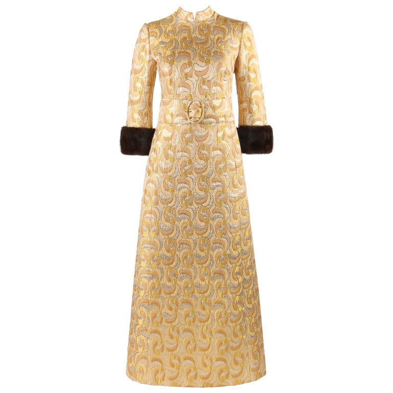 LILLIE RUBIN c.1960's Metallic Brocade Mink Fur Cuff Belted Caftan Evening Dress