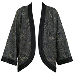 Vintage Yves Saint Laurent Black Kimono Jacket with Gold Embroidered Sea Shells