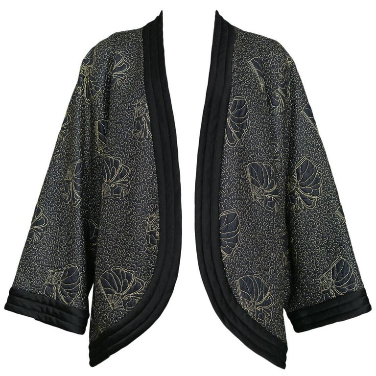 Yves Saint Laurent Vintage Black Kimono Jacket with Gold Embroidered Sea Shells  For Sale