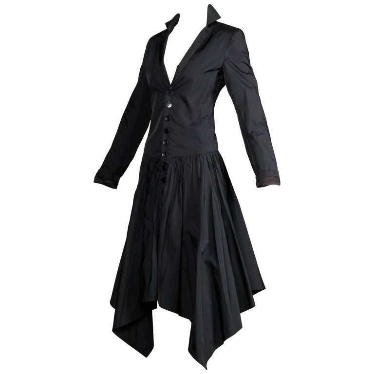 Jean Paul Gaultier Vintage Black Avant Garde Steampunk Coat or Dress, 1990s  For Sale
