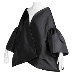 Amazing Victor Costa Black Taffeta Opera Cape Coat or Jacket with Bell Sleeves