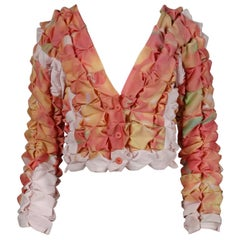 Issey Miyake Vintage Multicolor Pleated 3-D Pucker Jacket or Cardigan