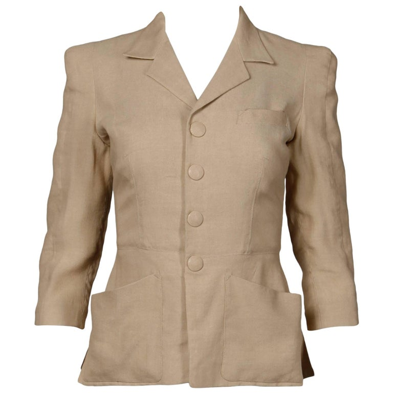 1990s Jean Paul Gaultier Femme Vintage Beige/ Blush Blazer Jacket For Sale